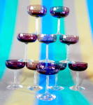 Click to view larger image of Vintage Set Of 3 Size Purple Stemware Set Of 23 Pieces (Image1)