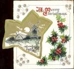 Click here to enlarge image and see more about item HCCP14: Vintage Christmas Card: Snow Scene with Wind Mill