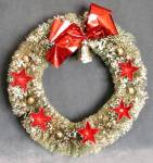 Vintage Green Bottle Brush Wreath/Foil Stars