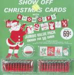 Click here to enlarge image and see more about item HCG67: SHOW OFFS Jumbo Value Pack Christmas Card Pin-up