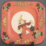 Click here to enlarge image and see more about item HHP2: Vintage Childs Halloween Square Paper Plates Set of 2