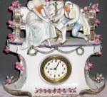 Click to view larger image of Vintage German Porcelain 3 Piece Lover's Clock Set (Image4)