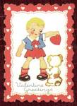Click here to enlarge image and see more about item HSVAL13: Valentine: Boy And Puppy & Donkey with Straw