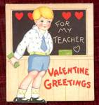Click here to enlarge image and see more about item HSVAL14: Vintage Valentine: Boy By Blackboard