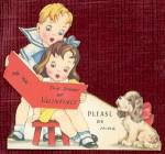 Click here to enlarge image and see more about item HSVAL17: Vintage Valentine: Boy, Girl and Puppy