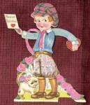 Click here to enlarge image and see more about item HSVAL19: Vintage Mechanical Valentine: Boy and Cat