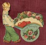 Click here to enlarge image and see more about item HSVAL20: Vintage Valentine: Boy with Wheelbarrow