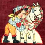 Click here to enlarge image and see more about item HSVAL27: Valentine: Jockey
