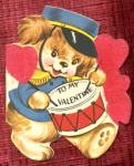 Click here to enlarge image and see more about item HSVAL33: Vintage Valentine: Dog & Drum & Boy & Girl on Bike