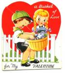 Vintage Valentine: Boy and Girl With Basket