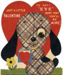 Click here to enlarge image and see more about item HSVAL50: Vintage Mechanical Valentine: Plaid Dog