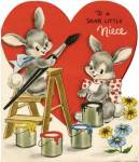 Click here to enlarge image and see more about item HSVAL51: Vintage Valentine: Painting Bunnies