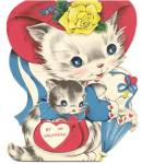 Click here to enlarge image and see more about item HSVAL63: Vintage Valentine Card: Cat in Purse