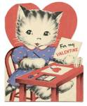 Click here to enlarge image and see more about item HSVAL66: Vintage Valentine Cards: Cat at Desk