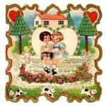 Click here to enlarge image and see more about item HSVAL80: Vintage Valentine Card: Boy, Girl and Puppies