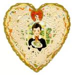 Click here to enlarge image and see more about item HSVAL82: Vintage Valentine Heart Decorated with Lace Doily