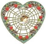 Cutout  Spiderweb Valentine with Hearts & Violets
