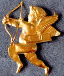 Click here to enlarge image and see more about item HV111: Vintage Metal Gold Tone Embossed Cupid