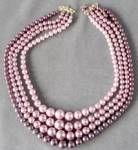Click here to enlarge image and see more about item JBN15: Mauve Faux Pearl Necklace