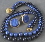 Click here to enlarge image and see more about item JBN9: Vintage Moonglow Double-Strand Necklace & Earrings