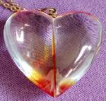 Click here to enlarge image and see more about item JCB17: Vintage Lucite Heart Pendent on Gold Tone Chain