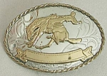 Click here to enlarge image and see more about item JVCFA24: Belt Buckle Cowboy Riding a Bronco