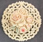 Click here to enlarge image and see more about item JCB65: Vintage Occupied Japan Celluloid Round Flower Pin
