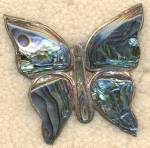 Click here to enlarge image and see more about item JCFI1: Vintage Sterling and Abalone Butterfly Pin