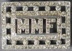 Click here to enlarge image and see more about item JCV1: Vintage Initial Rhinestone brooch