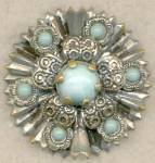 Click here to enlarge image and see more about item JCV21: Vintage Silver-tone and Faux Turquoise Pin