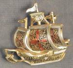 Click here to enlarge image and see more about item JCVFM11: Vintage Sailing Ship Pin Brooch