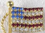 Click to view larger image of Vintage American Flag Rhinestone Pin (Image2)