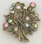 Click here to enlarge image and see more about item JCVS13: Vintage Large Flower Pastel Coro Pin