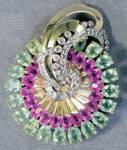Click here to enlarge image and see more about item JCVS3: Vintage Large Mazer Art Deco Pink & Green Stone Brooch