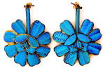Click here to enlarge image and see more about item JF4: Vintage Kingfisher Feather Large  Flower Earrings