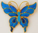 Click here to enlarge image and see more about item JF7: Antique Chinese Kingfisher Feather Butterfly Pin