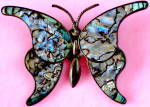 Click here to enlarge image and see more about item JFP8: Vintage Mexico Sterling Silver Abalone Butterfly Brooch