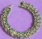 Click here to enlarge image and see more about item JJVCS34: Vintage Trifari Emerald Green Bracelet