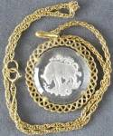 Click to view larger image of Vintage Trifari Taurus Zodiac Etched Glass Necklace (Image1)