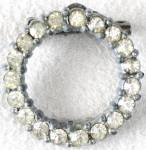 Click here to enlarge image and see more about item JV109: Vintage Clear Rhinestone Circle Pin