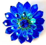 Vintage Blue Flower Pin Western Germany