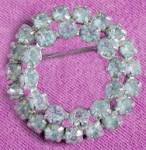 Click here to enlarge image and see more about item JV49: Vintage Ice Blue Rhinestone Double Circle Pin