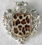 Click here to enlarge image and see more about item JV94: Faux Leopard Fur Pin with Crown