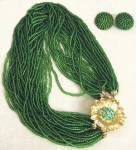 Click here to enlarge image and see more about item JVB3: Vintage Green Glass Beaded Demi Parure