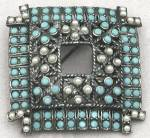 Click here to enlarge image and see more about item JVC23: Vintage Square Pin Set with Faux Pearls and Turquise