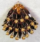Click here to enlarge image and see more about item JVC37: Vintage Hand Set Topaz Color Rhinestone Brooch/Pendant