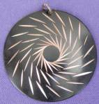 Click here to enlarge image and see more about item JVC43: Vintage Black and Copper Pendant