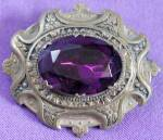 Click here to enlarge image and see more about item JVC45: Vintage Brass and Amethyst Color Stone Brooch