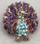 Click here to enlarge image and see more about item JVCFB9: Vintage Tiny Peacock Pin