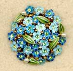 Click here to enlarge image and see more about item JVCFPL2: Vintage Forget-Me-Nots and Rhinestone Pin